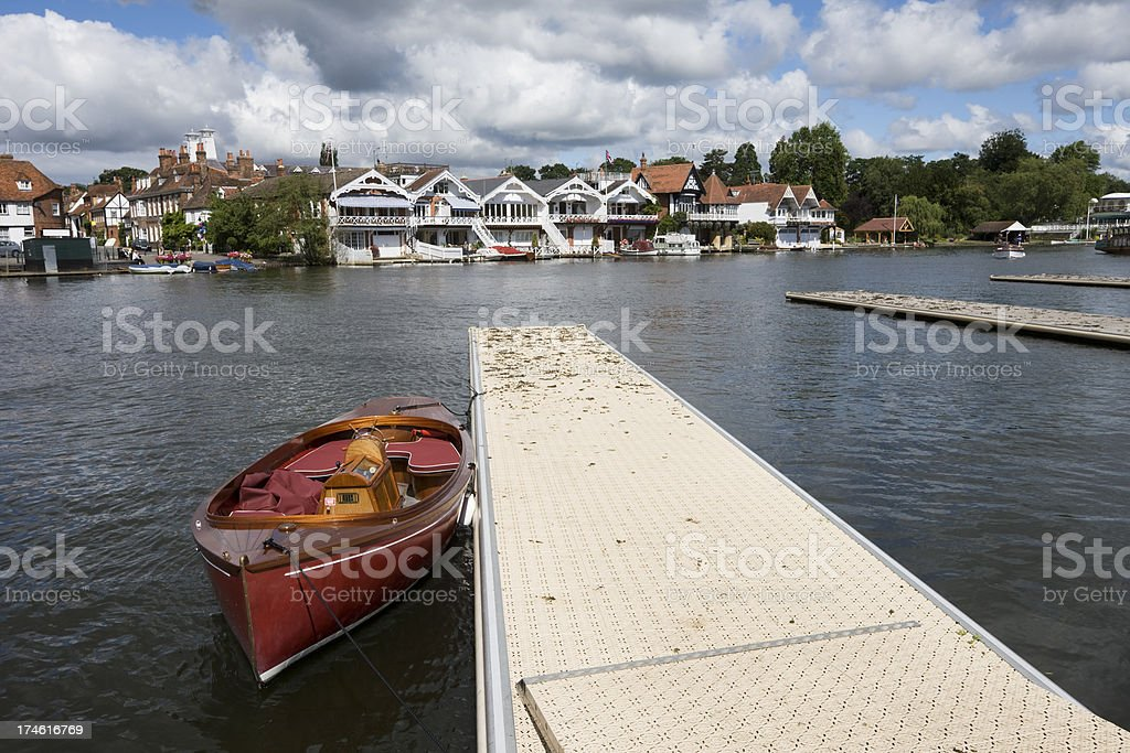 Boat Moored at Henley on Thames stock photo