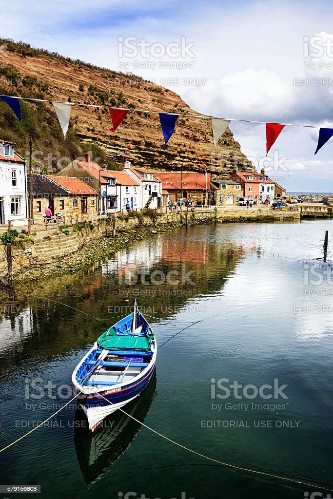 Boat moored at Staithes, North Yorkshire, England stock photo