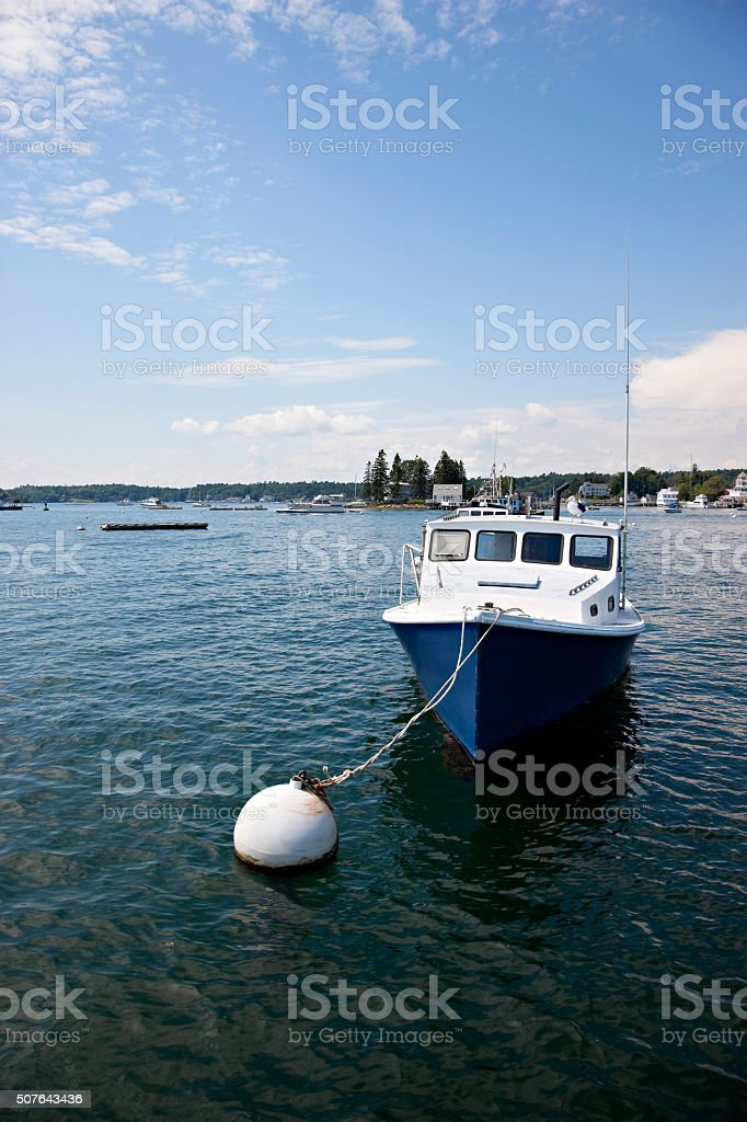 Boat moored near Boothbay Harbor, Maine stock photo