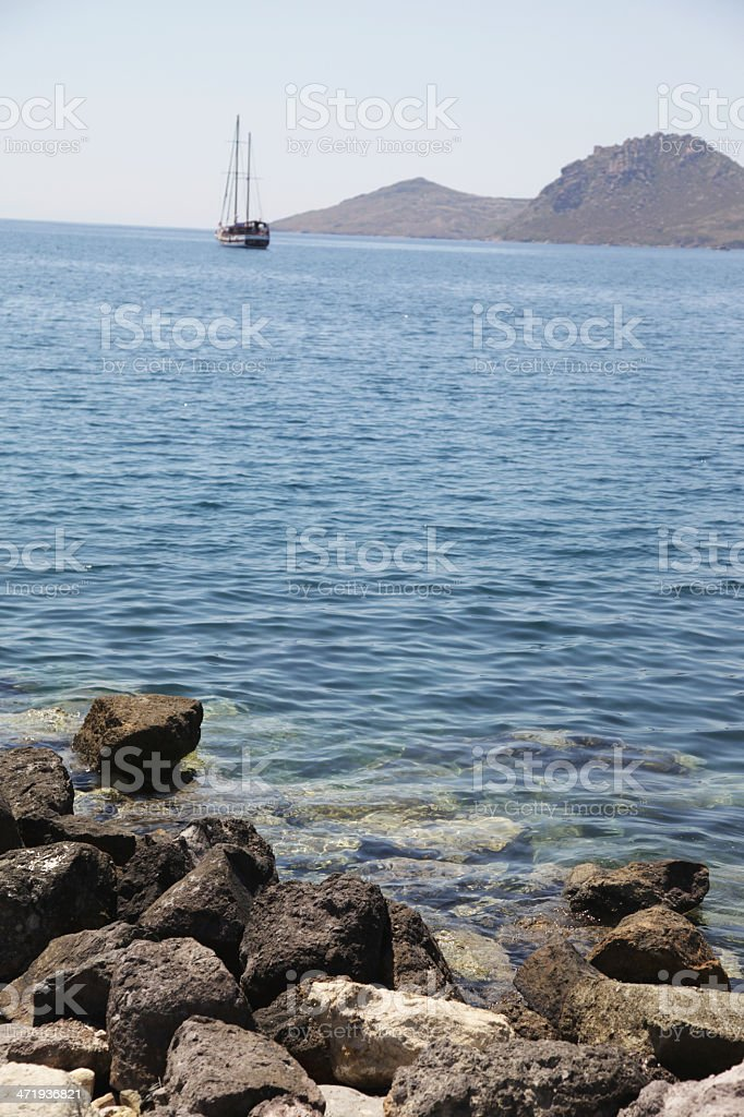 Boat near coast royalty-free stock photo