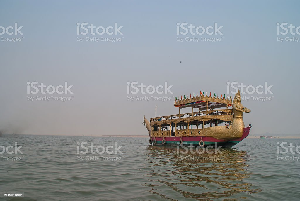 Boat near Holy Ghats of Varanasi stock photo