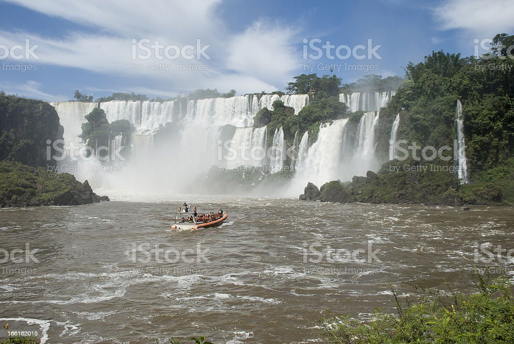 Boat Near Iguassu Falls stock photo