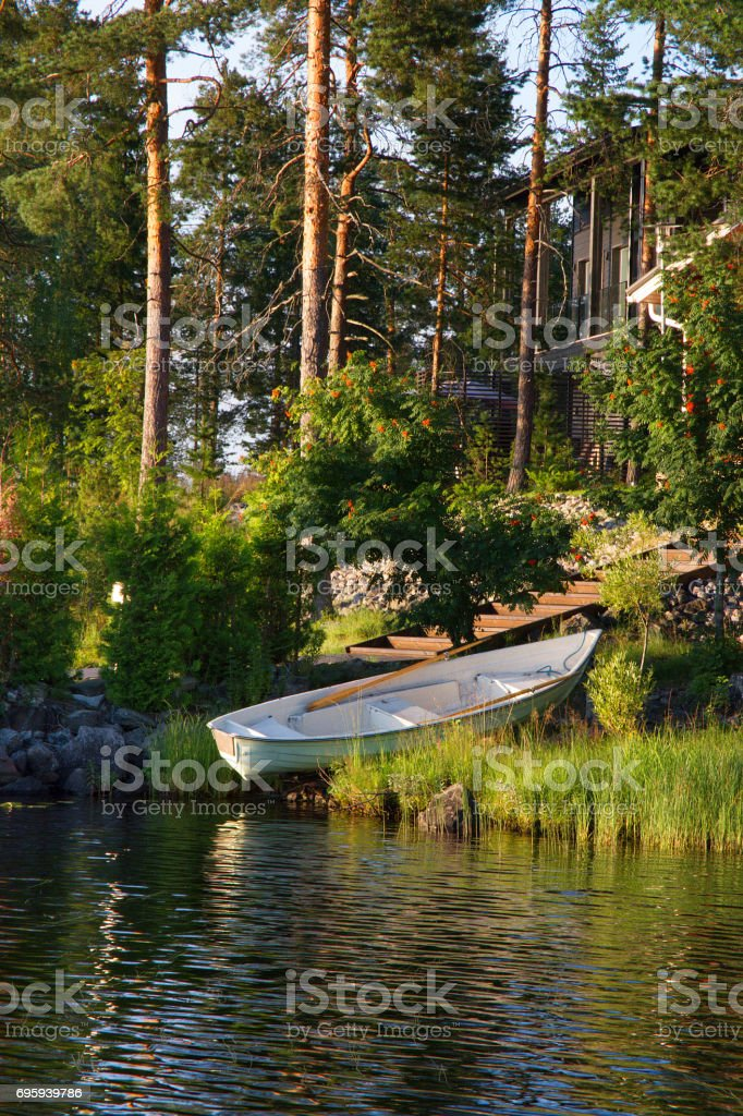 Boat near river ad pine forest стоковое фото