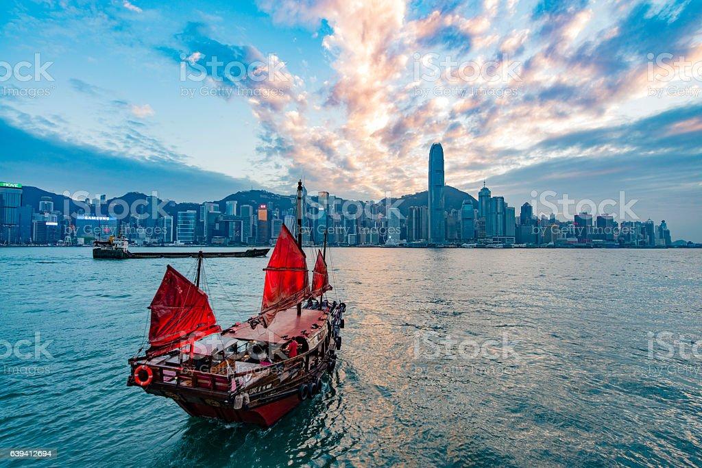 Boat of Hong Kong stock photo