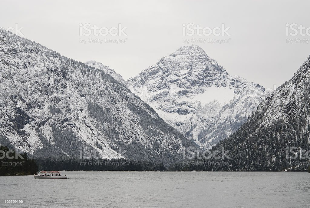 Boat on a cold winter day royalty-free stock photo