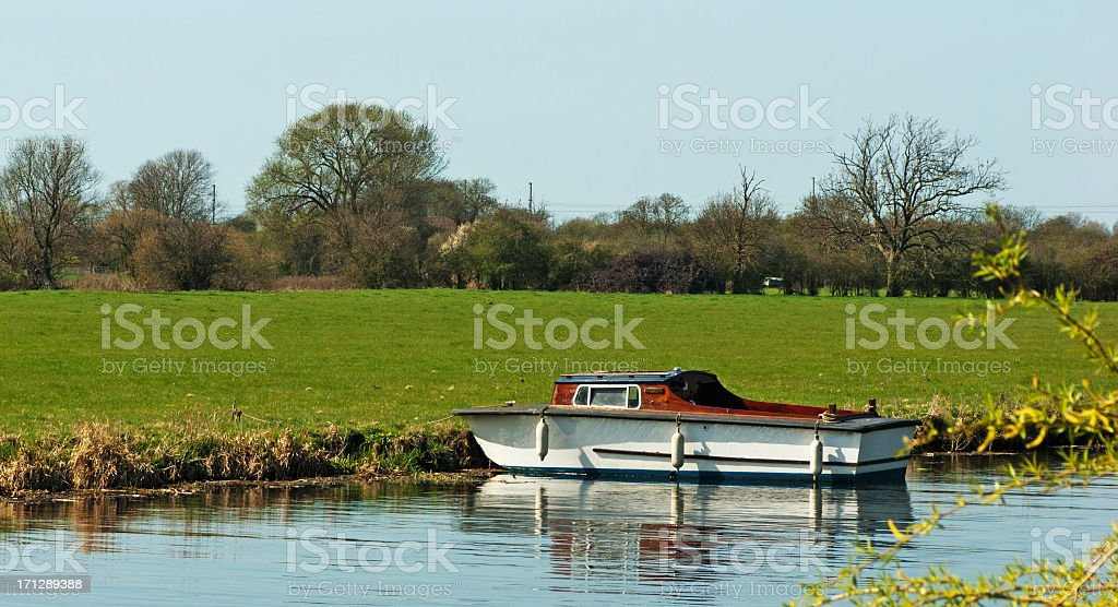 Boat on a river royalty-free stock photo