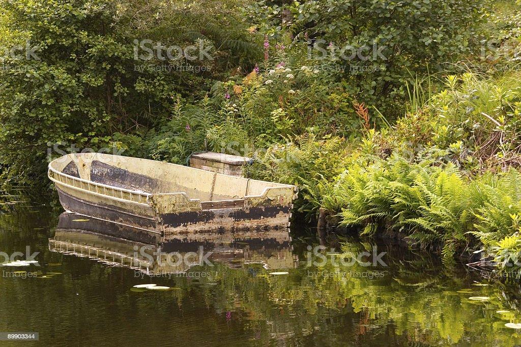 Boat on a still lake royalty-free stock photo