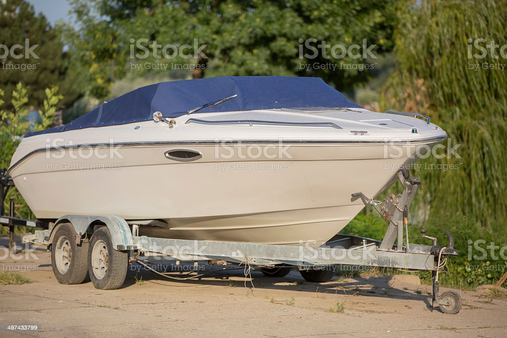 Boat on a Trailer in Boatyard stock photo
