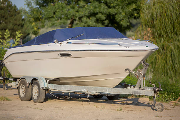 Boat on a Trailer in Boatyard stock photo