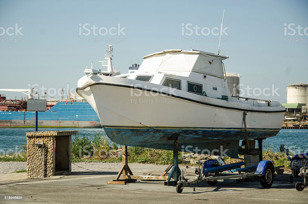 Boat on a trailer stock photo