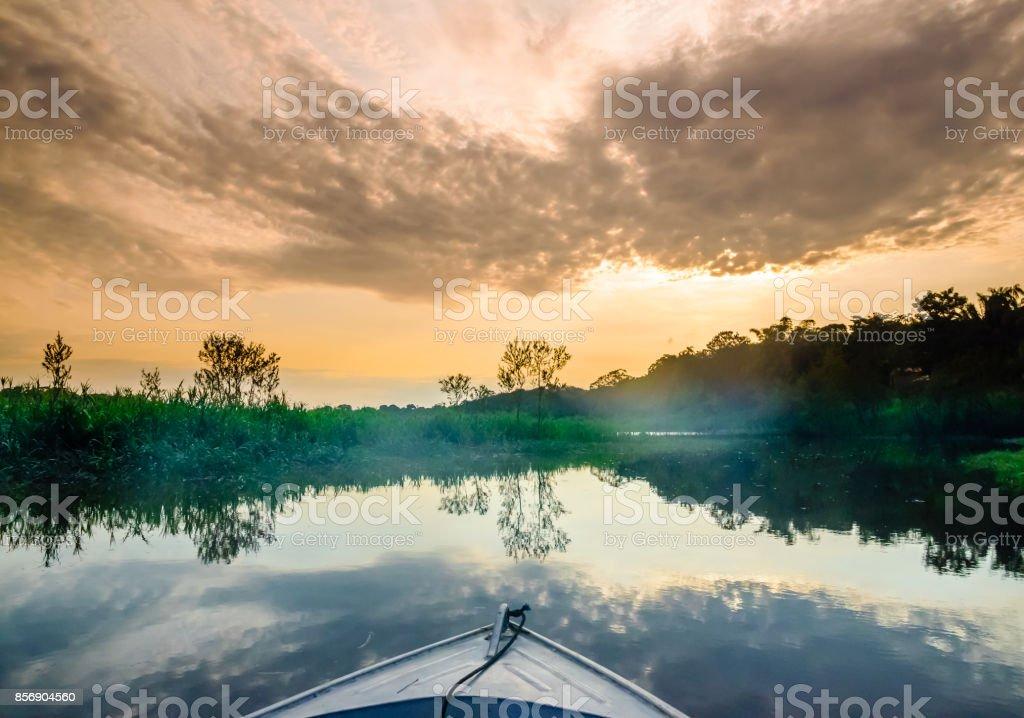 Boat on Amazon in Brazil stock photo