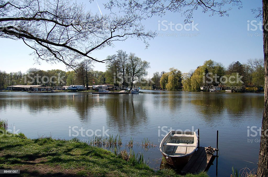 boat on an idyllic oxbow lake stock photo