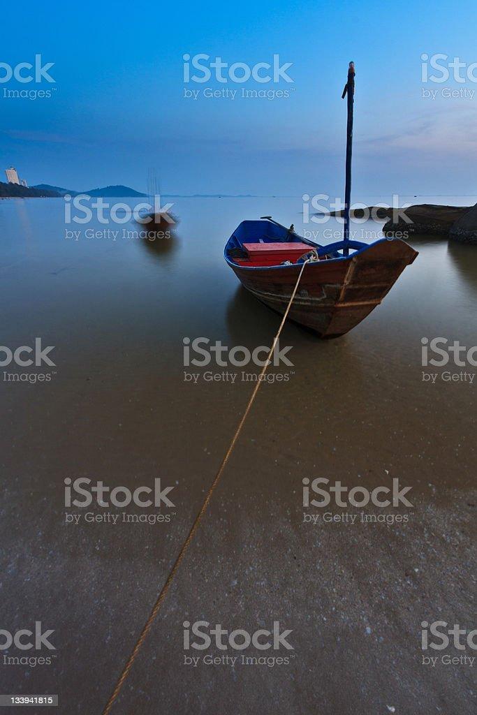 Boat on Beach stock photo