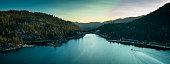 istock Boat on Big Bear Lake at Sunset - Aerial Panorama 1255993801