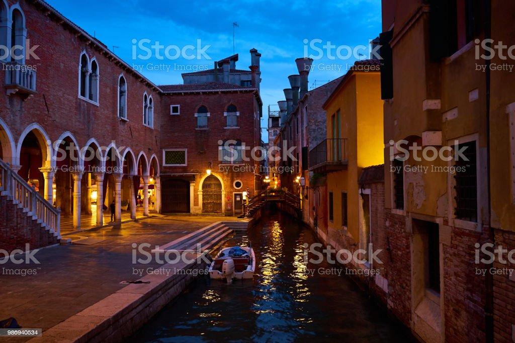 Boat On Canal At Famous Fish Market Mercato Del Pesce Al Minuto