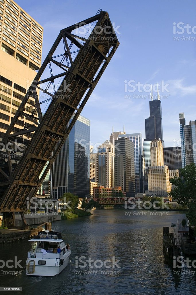 Boat on Chicago River stock photo