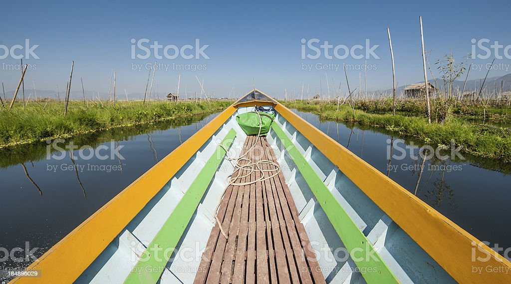 Boat on Inle lake royalty-free stock photo