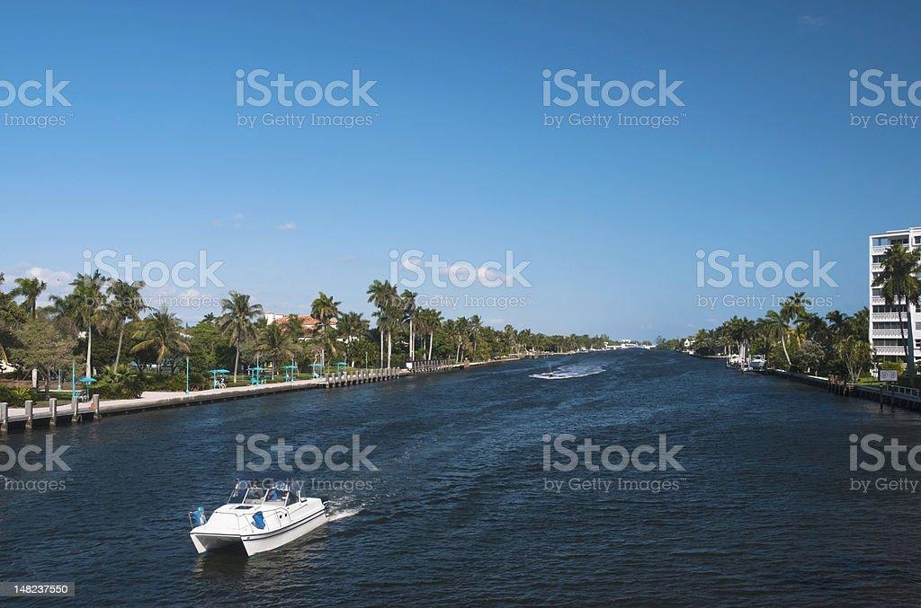 Boat on intracoastal waterway, Delray Beach, Florida stock photo