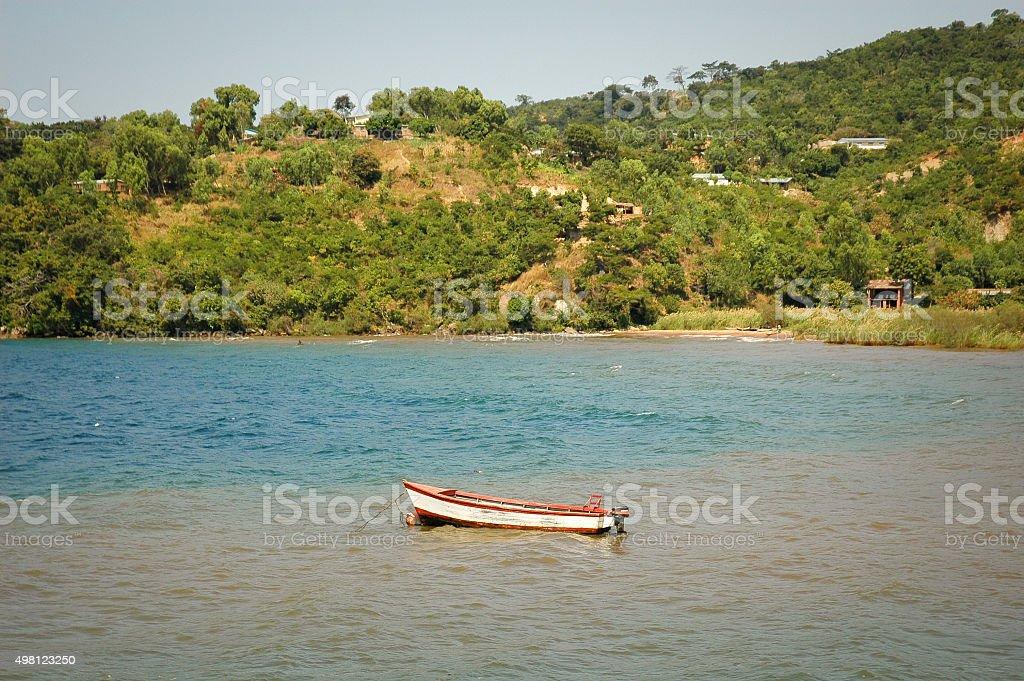 Boat on Lake Malawi stock photo
