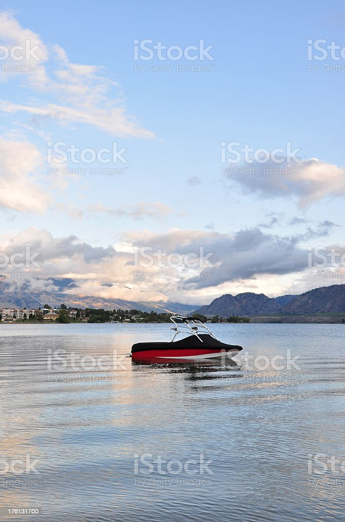 Boat on lake Osoyoos stock photo
