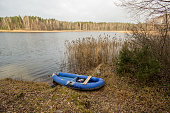 Packraft in lithuanian river.