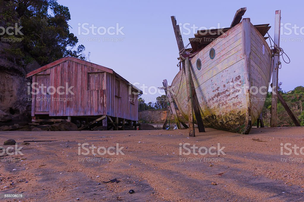 Boat on land stock photo