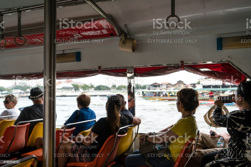 A boat on Mae Nam Chao Phraya river in Bangkok stock photo