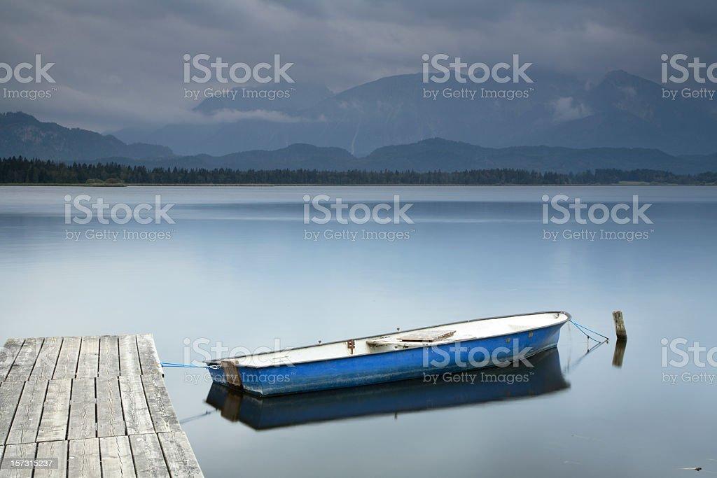 Boat on Mountain Lake royalty-free stock photo