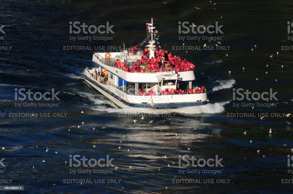 Boat on Route to the Naigara Falls stock photo