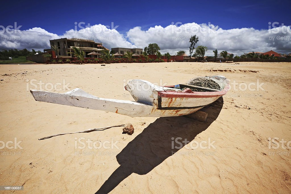 Boat on Saly beach in senegal stock photo