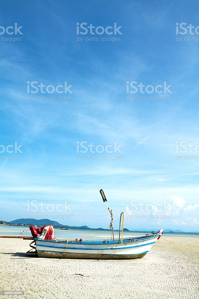 Boat on sandbar royalty-free stock photo