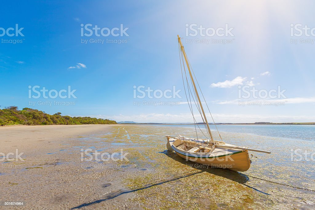 Boat on Sandy Point Beach, Victoria, Australia stock photo