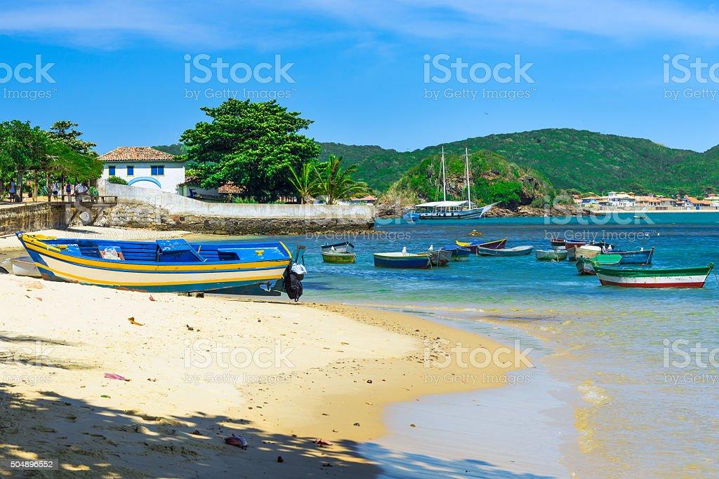 Boat on the beach in Buzios, Rio de Janeiro stock photo