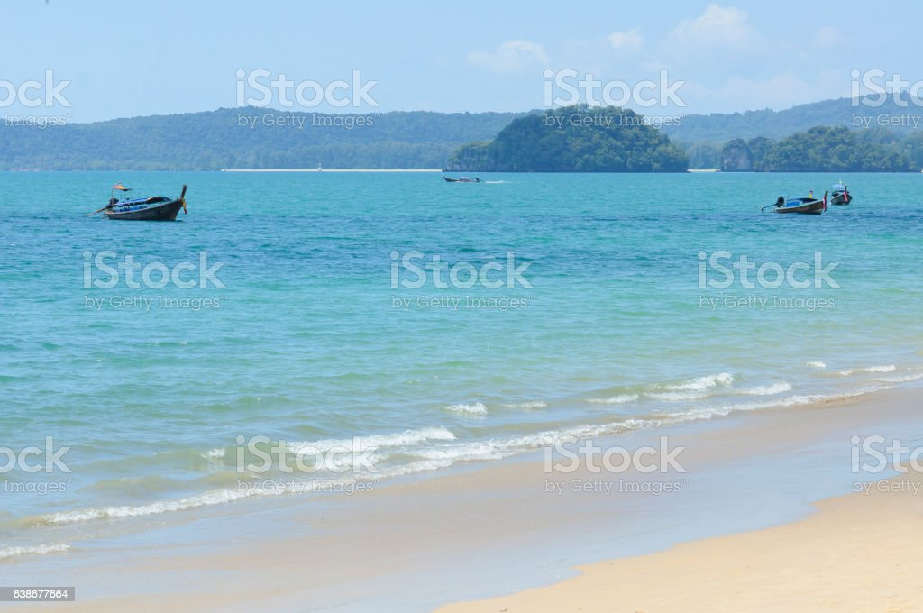 Boat on the beach in Krabi Thailand stock photo