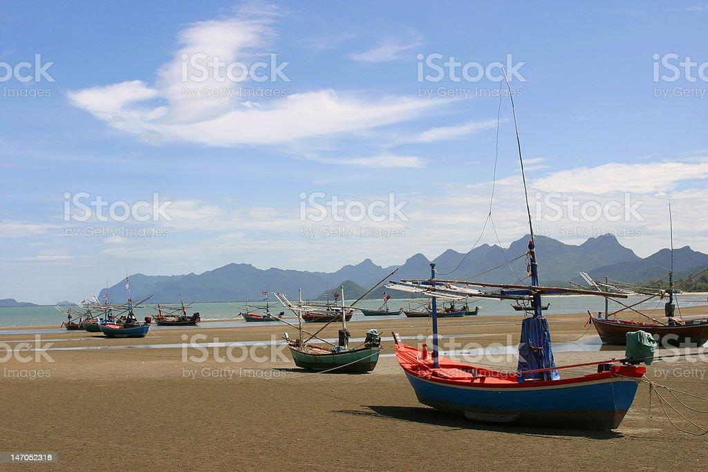 Boat on the beach, Thailand stock photo