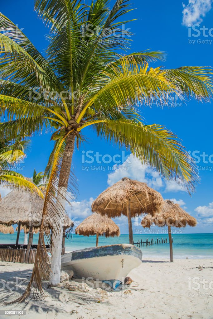 Boat on the beach under a palm tree. Beautiful beach. Boat on the beach. Tulum, Mexico, Carribean stock photo