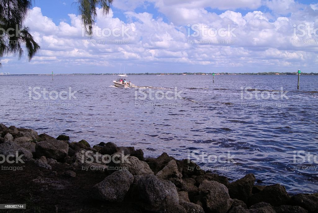 Boat on the Caloosahatchee river royalty-free stock photo