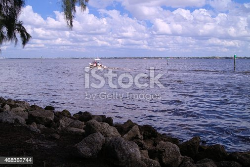 Boat On The Caloosahatchee River Stock Photo & More Pictures of 2015