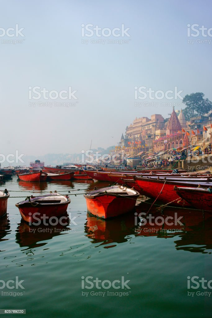 Boat on the Ganges stock photo
