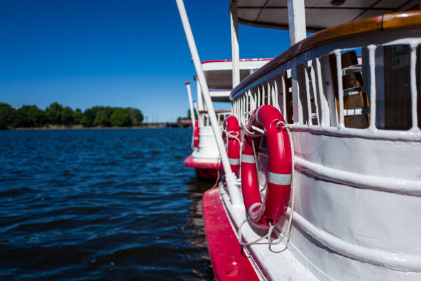A boat on the Hamburg Alster river stock photo