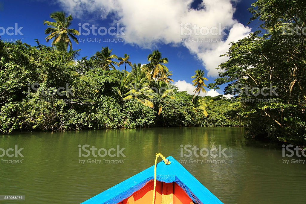 Boat on the Indian river stock photo
