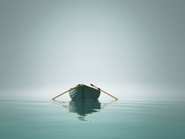 A boat on the lake in the morning. This is a 3d render illustration stock photo