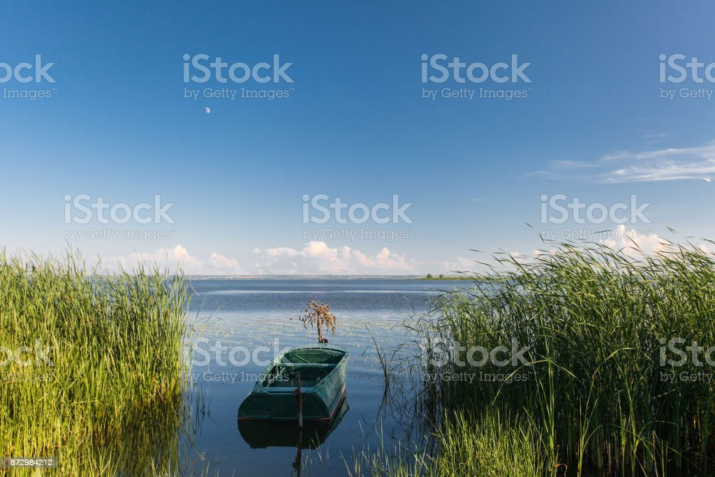 Boat on the lake Nero in Rostov stock photo