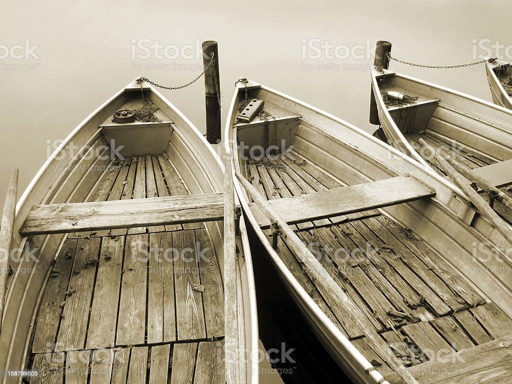 boat on the lake, sepia royalty-free stock photo
