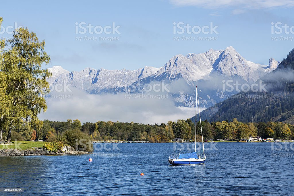 Boat On The Lake, Zell Am See, Austria stock photo