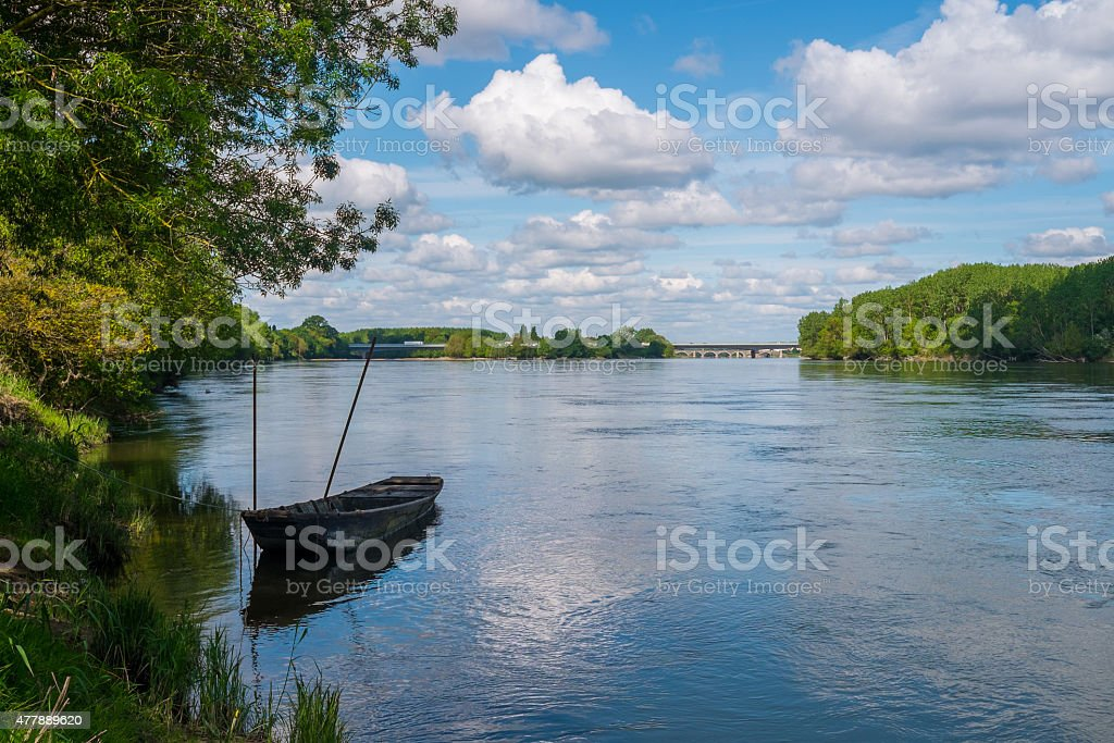 Boat on the Loire stock photo