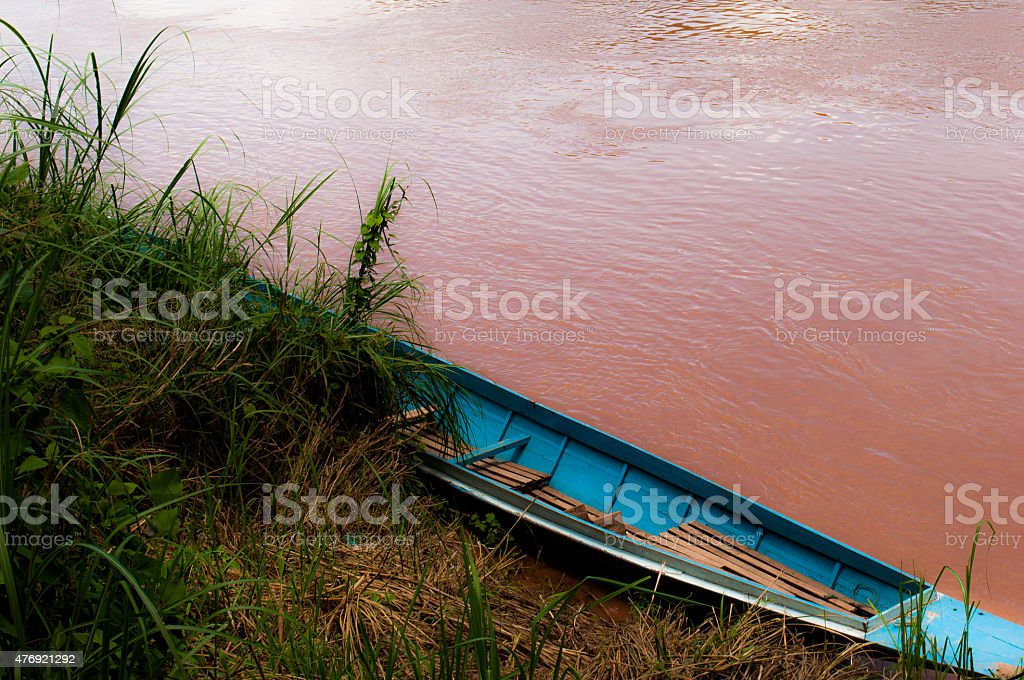 Boat on the Mekong stock photo