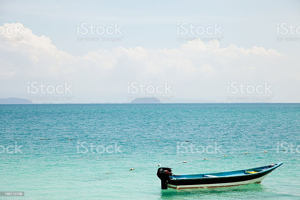 Boat on the ocean, Perhentian Islands, Malaysia stock photo