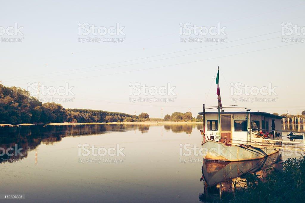Boat on the Po delta, Italy stock photo