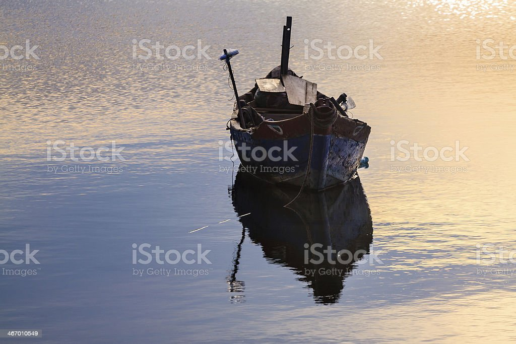 Boat on the pond stock photo